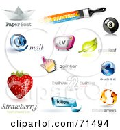 Royalty Free RF Clipart Illustration Of A Digital Collage Of 3d Logo Icons Version 2 by Anja Kaiser