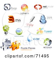 Royalty Free RF Clipart Illustration Of A Digital Collage Of 3d Logo Icons Version 1 by Anja Kaiser