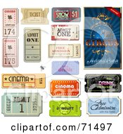 Royalty Free RF Clipart Illustration Of A Digital Collage Of Circus And Other Admission Tickets by Anja Kaiser #COLLC71497-0142