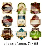 Royalty Free RF Clipart Illustration Of A Digital Collage Of Elegant Product Labels With Golden Banners by Anja Kaiser