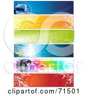 Royalty Free RF Clipart Illustration Of A Digital Collage Of Horizontal Binary Globe Floral Geometric Arrow And Speaker Website Headers