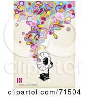 Royalty Free RF Clipart Illustration Of A Black And White Gramophone With Funky Colorful Music With Flowers