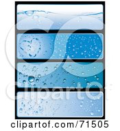 Royalty Free RF Clipart Illustration Of A Digital Collage Of Four Blue Waterdrop Horizontal Website Headers