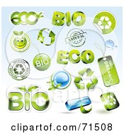 Royalty Free RF Clipart Illustration Of A Digital Collage Of Green And Blue Eco Bio Icons by Anja Kaiser