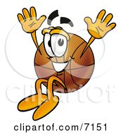 Clipart Picture Of A Basketball Mascot Cartoon Character Jumping