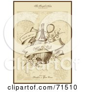 Royalty Free RF Clipart Illustration Of An Elegant Sepia Toned Wine List Menu Cover by Anja Kaiser