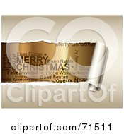 Royalty Free RF Clipart Illustration Of Beige Paper Tearing To Reveal Christmas Text In Different Languages