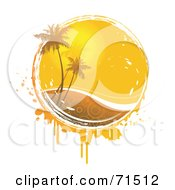 Royalty Free RF Clipart Illustration Of Palm Trees In Front Of The Summer Sun With Circle Patterned Water And Grunge Over White by Anja Kaiser