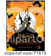 Royalty Free RF Clipart Illustration Of A Full Moon Bats And Haunted House Background With Sample Text