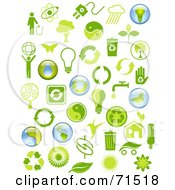 Royalty Free RF Clipart Illustration Of A Digital Collage Of Green And Blue Environmental Icons by Anja Kaiser