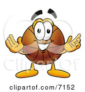 Clipart Picture Of A Basketball Mascot Cartoon Character With Welcoming Open Arms by Toons4Biz