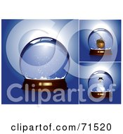 Royalty Free RF Clipart Illustration Of A Digital Collage Of Empty Acorn And Snowman Snow Globes Over Blue