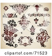 Digital Collage Of Ornate Deep Red Floral Design Elements