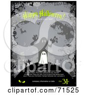 Gray Happy Halloween Ghost And Graveyard Background With Sample Text