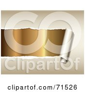 Royalty Free RF Clipart Illustration Of Gold Being Revealed Under Torn Beige Paper