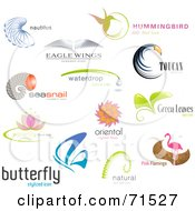 Royalty Free RF Clipart Illustration Of A Digital Collage Of Bird And Other Misc Logo Icons by Anja Kaiser #COLLC71527-0142