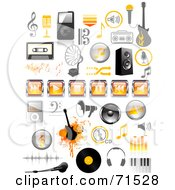 Royalty Free RF Clipart Illustration Of A Digital Collage Of Orange And Black Music Icons by Anja Kaiser