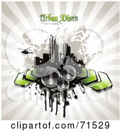 Royalty Free RF Clipart Illustration Of A Helicopter Over A Grungy City With Arrows And Speakers On A Beige Burst