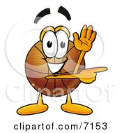 Clipart Picture Of A Basketball Mascot Cartoon Character Waving And Pointing