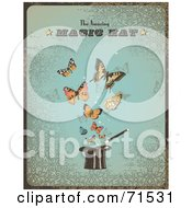 Royalty Free RF Clipart Illustration Of A Vintage Blue The Amazing Magic Hat Sign With Butterflies And A Hat by Anja Kaiser