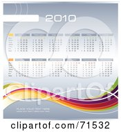 Royalty Free RF Clipart Illustration Of A 2010 Calendar With A Rainbow Wave And Gray Showing All 12 Months