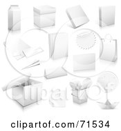 Royalty Free RF Clipart Illustration Of A Digital Collage Of White Product Boxes And Labels by Anja Kaiser