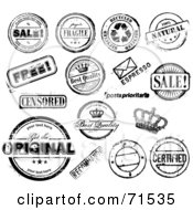Royalty Free RF Clipart Illustration Of A Digital Collage Of Distressed Black And White Rubber Stamp Styled Notices