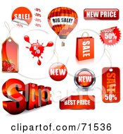 Royalty Free RF Clipart Illustration Of A Digital Collage Of Red Retail Sale Icons With Unique Shapes