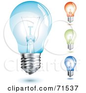 Royalty Free RF Clipart Illustration Of A Digital Collage Of Four Colorful Transparent Light Bulbs