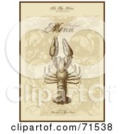 Royalty Free RF Clipart Illustration Of An Elegant Sepia Toned Lobster Seafood Menu Cover