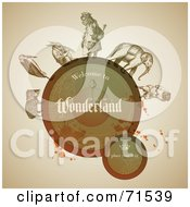 Royalty Free RF Clipart Illustration Of Vintage Animals Around A Brown Circle With Grunge Splatters by Anja Kaiser