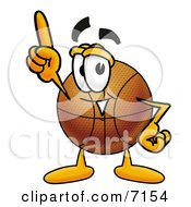 Clipart Picture Of A Basketball Mascot Cartoon Character Pointing Upwards