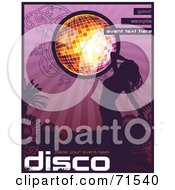 Royalty Free RF Clipart Illustration Of A Silhouetted Woman Dancing Under A Disco Ball With Purple Flowers by Anja Kaiser
