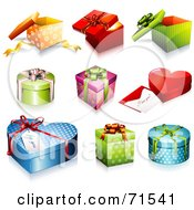 Royalty Free RF Clipart Illustration Of A Digital Collage Of Colorful 3d Different Shaped Gift Boxes by Anja Kaiser