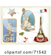Royalty Free RF Clipart Illustration Of A Digital Collage Of Travel Sticker Styled Icons Pisa American Star Statue Of Liberty Italy Flag Eiffel Tower