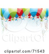 Royalty Free RF Clipart Illustration Of Colorful Balloons And Curly Ribbons Floating Over White Space by MilsiArt