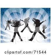 Royalty Free RF Clipart Illustration Of Silhouetted Girls Jumping Over A Bursting Blue Background