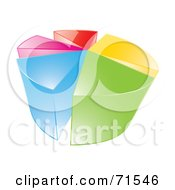 Royalty Free RF Clipart Illustration Of A 3d Pie Chart Of Colorful Pieces On White by MilsiArt