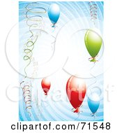 Royalty Free RF Clipart Illustration Of Colorful Balloons And Ribbons In A Blue Spiral by MilsiArt