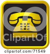 Royalty Free RF Clipart Illustration Of A Black And Golden Phone Website Icon