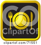 Royalty Free RF Clipart Illustration Of A Black And Golden Dining Website Icon by Lal Perera