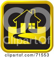Royalty Free RF Clipart Illustration Of A Black And Golden House Website Icon