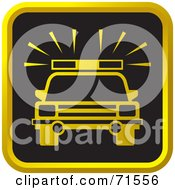 Royalty Free RF Clipart Illustration Of A Black And Golden Police Car Website Icon by Lal Perera