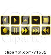 Digital Collage Of Black And Golden Media Website Icons