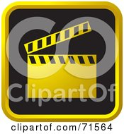 Royalty Free RF Clipart Illustration Of A Black And Golden Clapper Board Website Icon by Lal Perera