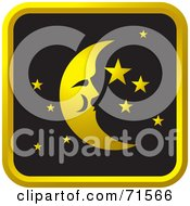 Royalty Free RF Clipart Illustration Of A Black And Golden Moon And Stars Website Icon