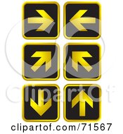 Digital Collage Of Six Black And Golden Arrow Website Icons
