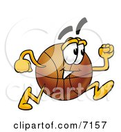 Clipart Picture Of A Basketball Mascot Cartoon Character Running