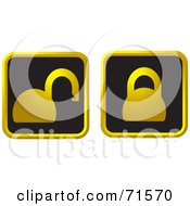 Digital Collage Of Two Black And Golden Padlock Website Icons