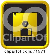 Royalty Free RF Clipart Illustration Of A Black And Golden Floppy Disk Website Icon by Lal Perera